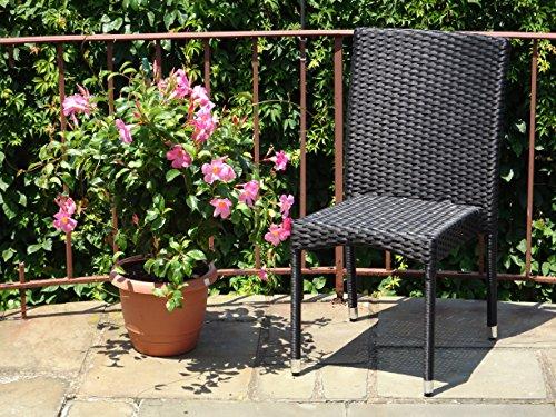 Patio Resin Outdoor Wicker Side Chair Garden Sunroom Deck Balcony Furniture Black Color