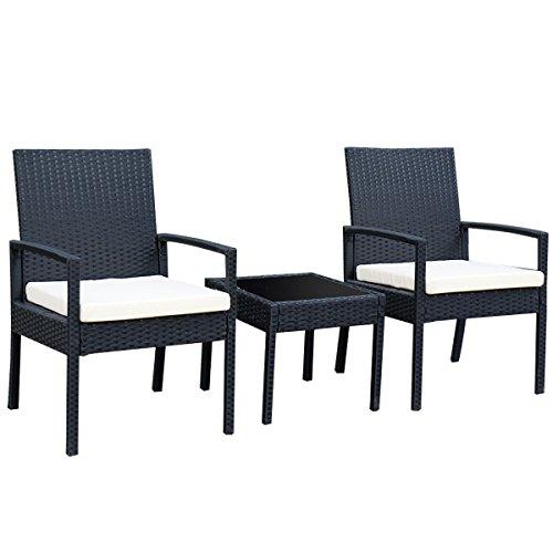 AK Energy 3pc Outdoor Rattan Patio Furniture Set Backyard Garden Furniture Chair Cushioned Tea Table