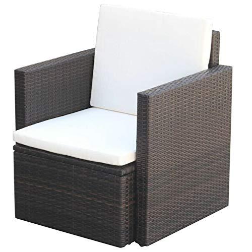CJ Online Shop Armchair Chair Poly Rattan Outdoor Home Garden Furniture Chairs Seat Cushion Wicker Brown 256x256x287