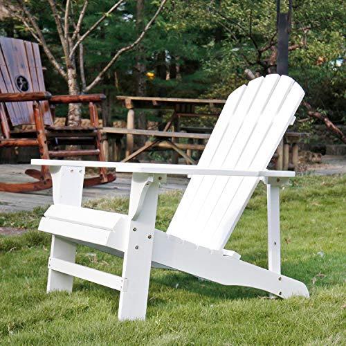 SFYLODS White Outdoor Painted Wood Fashion Adirondack ChairMuskoka Chairs Patio Deck Garden Furniture