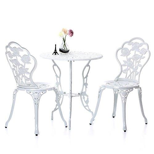 IKAYAA 3PCS Modern Patio Furniture Outdoor Garden Bistro Set Iron Aluminum Balcony Cafe Table Chairs Set Rose Design White