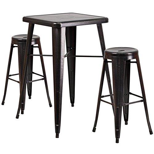 Indoor-Outdoor Table Set Backless Black-Antique