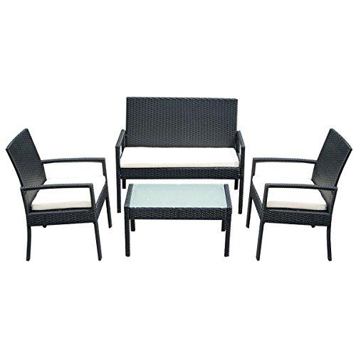Tangkula 4 Pcs Outdoor Patio Furniture Set Table Chair Sofa Cushioned Seat Garden