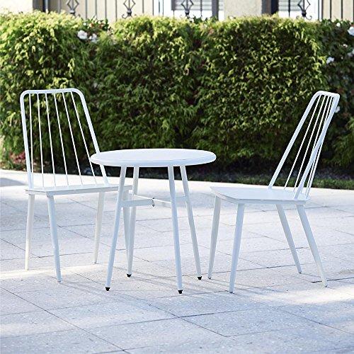 Cosco Outdoor 3 Piece Cottage Bistro Steel Patio Furniture Set White