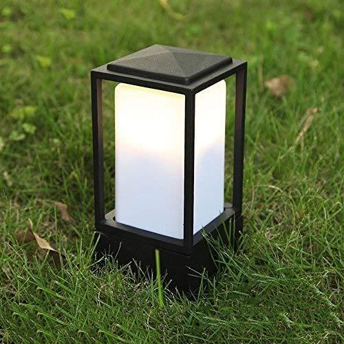 XAJGW Acrylic Square Small Lawn Table Lamp Die-cast Aluminum Black Outdoor Garden Lantern Courtyard Patio Traditional E27 Small Pillar Exterior Post Lantern