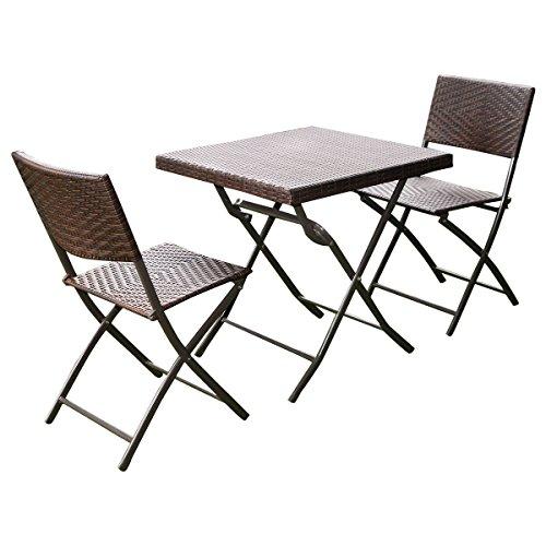 Giantex 3 Pc Outdoor Folding Table Chair Furniture Set Rattan Wicker Bistro Patio Brown