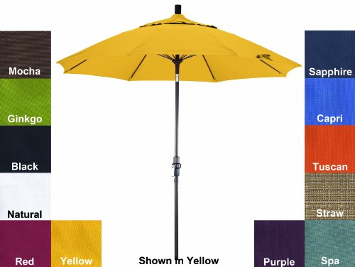 Phat Tommy Pacifica Fabric Aluminum Market Patio Umbrella For Home Restaurant Deck Or Cafe 9 Yellow