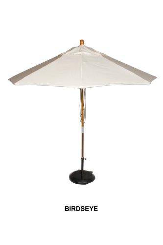 Phat Tommy Sunbrella Fabric Marenti Wood Market Patio Umbrella for Home Restaurant Deck or Cafe 9 Birds Eye
