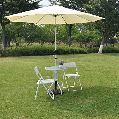 RainLeaf 9 Market Umbrella Aluminum Patio Umbrella with Tilt and Crank for outdoor and deck Beige