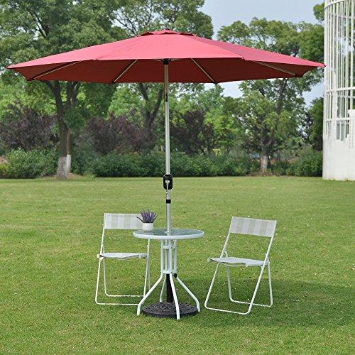 Rainleaf 9 Market Umbrella Aluminum Patio Umbrella With Tilt And Crank For Outdoor And Deck Dark Red