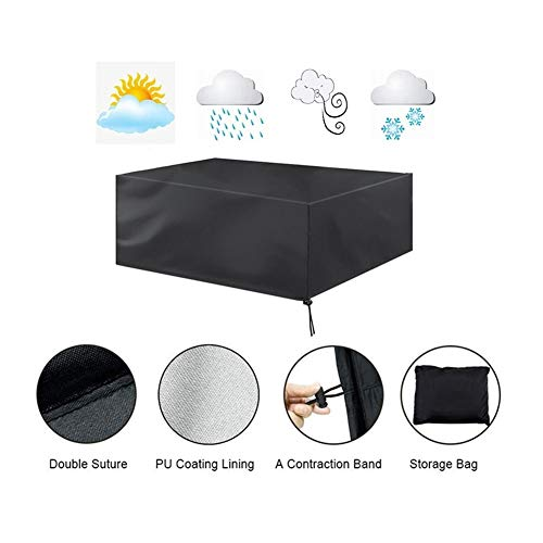 AGLZWY Patio Furnishing Covers Windproof Wear Resistant Coffee Table Table and Stool Garden Furniture Set 33 Sizes Color  Black Size  200x160x70cm