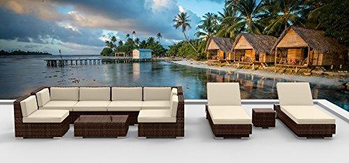 Urban Furnishingnet - Brown Series 10a Modern Outdoor Backyard Wicker Rattan Patio Furniture Sofa Sectional Couch Set