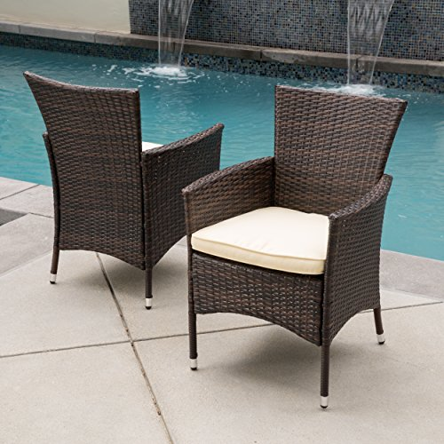 Clementine Outdoor Multibrown Pe Wicker Dining Chairs set Of 2