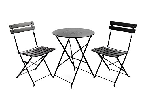 Finnhomy 3 Piece Steel Folding Table And Chair Set Wsafe Lock For Indoors And Outdoors Bistro Table Chair Sets