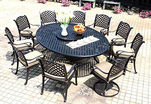 Cast Aluminum Dining Set 12 Piece Outdoor Patio Furniture Nassau 70x100 Table Antique Bronze Desert