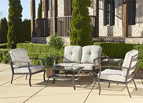 Cosco Outdoor 5 Piece Serene Ridge Aluminum Patio Furniture Conversation Set With Cushions And Coffee Table Dark