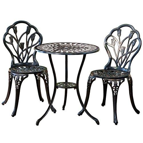 Giantex Patio Furniture Cast Aluminum Rose Design Bistro Set Antique Green brown