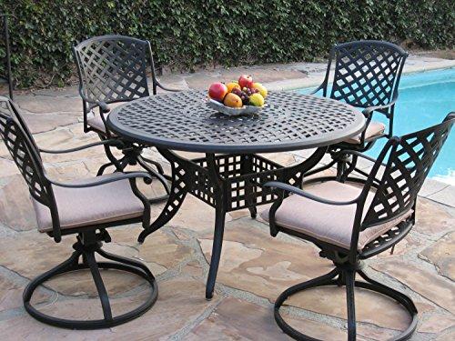 Kawaii Collection Cast Aluminum Outdoor Patio Furniture 5 Piece Dining Set With 4 Swivel Rockers Mlv120t Cbm1290