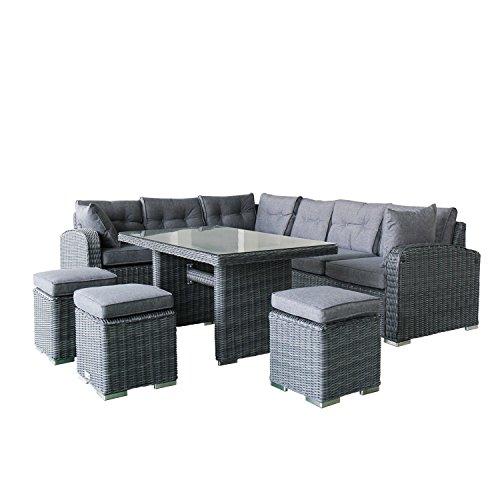 Magari Furniture Mag1308v-6c Outdoor 6 Piece Aluminum Rattan Pool Patio Garden Set Dark Grey