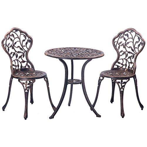 Merax 3-piece Outdoor Bistro Patio Set Cast Aluminum Furniture Set Table And Chairs Antique Copper