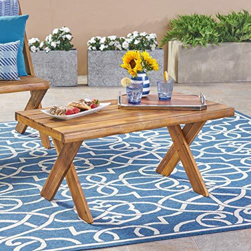Christopher Knight Home 304412 Irene Outdoor Acacia Wood Coffee Table Sandblast Teak Finish Renewed