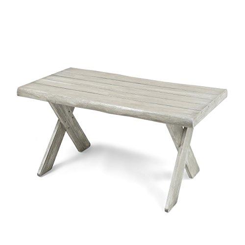 Christopher Knight Home 304413 Irene Outdoor Acacia Wood Coffee Table Sandblast Light Grey
