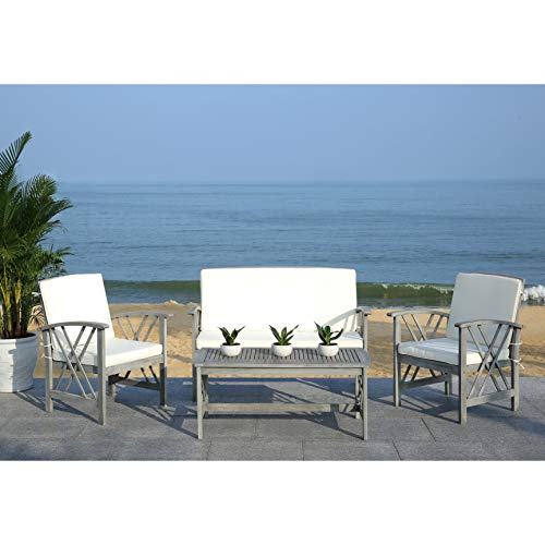 Outdoor Living Grey WashBeige 4-Piece Patio Set Multi Color Modern Contemporary Polyester Steel Wood Coffee Table