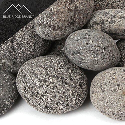 Blue Ridge BrandTM Lava Rock - 25-Pound Tumbled Lava Stones for Fire Pit - 3 BlackGray Lava Pebbles - Fire Glass Substitute - Landscaping Rocks