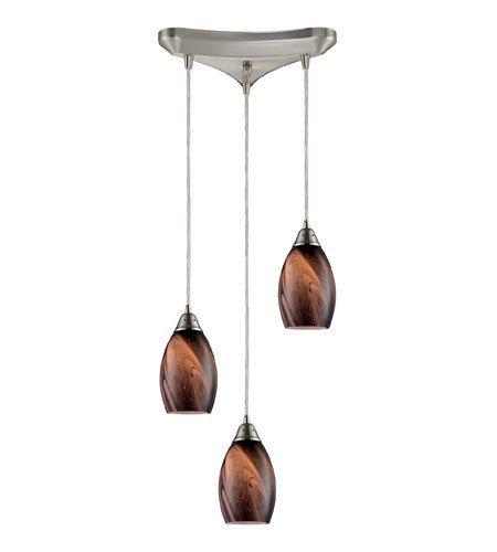 Pendants 3 Light With Satin Nickel Finish Rockslide Glass Medium Base 10 inch 180 Watts - World of Lamp