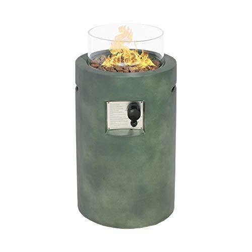 Sunbury Outdoor Propane Burning Fire Bowl Column Dark Green Patio Fire Pit Table 40000 BTU w Lava Rocks Glass Wind Guard Waterproof Cover