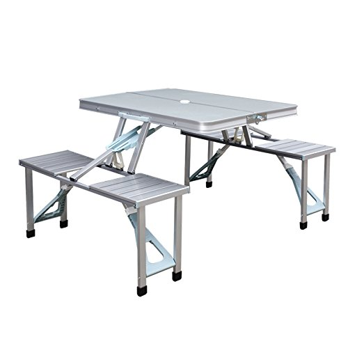 Aluminum Outdoor Picnic Party Dining Kitchen Portable Folding Tableamp Benches 4 Seats