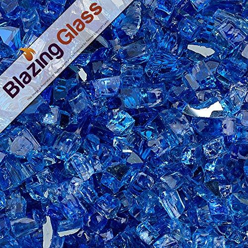 Blazing Fireglass 10-pound Reflective Fire Glass With Fireplace Glass And Fire Pit Glass 14-inch Cobalt Blue
