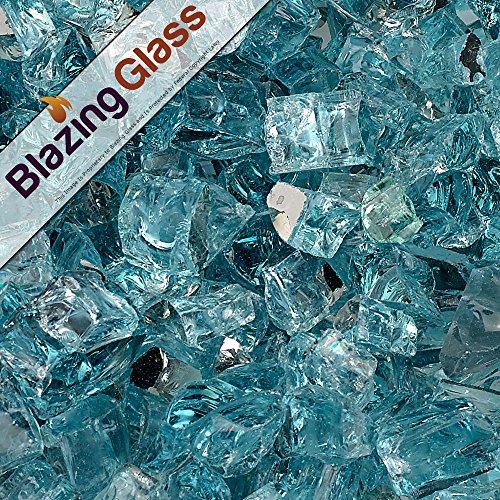 Blazing Fireglass 20-pound Reflective Fire Glass With Fireplace Glass And Fire Pit Glass 12-inch Azuria Blue