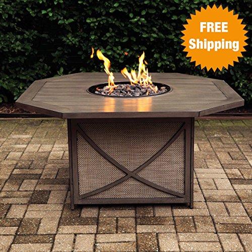 Davenport Kensington Gas Firepit Table - Alumicastamp Rust-free Aluminum Frame - Includes Amber Luster Glass Beads