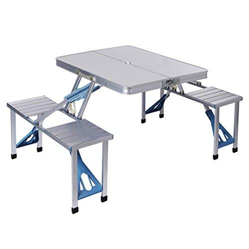 Eshion Aluminum Portable Suitcase Folding Picnic Table with 4 Seats Outdoor
