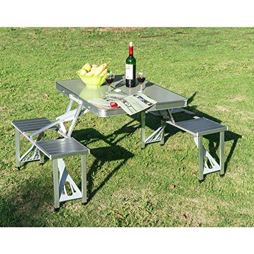 GHP Outdoor Camping Portable Folding Aluminum Picnic Table Portable w Case Chair