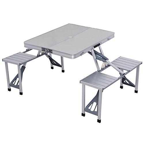 Giantex Outdoor Garden Aluminum Portable Folding Camping Picnic Table W 4 Seats