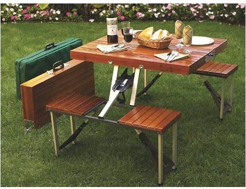 Leisure Season Wood and Aluminum Folding Picnic Table - Brown