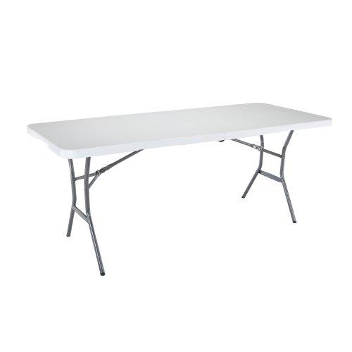 Lifetime 25011 Fold In Half Commercial Table 6 Feet White Granite