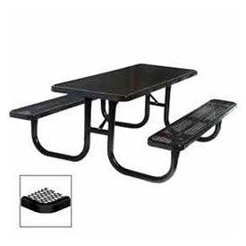 8 Extra Heavy Duty Picnic Table Diamond 96W X 70D Black