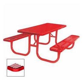 8 Extra Heavy Duty Picnic Table Diamond 96W X 70D Red