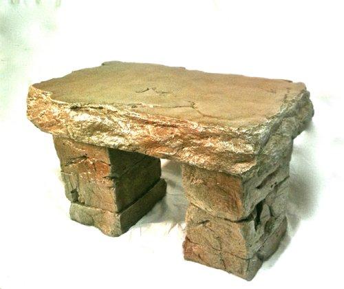 &quotgarden Bench&quot Cast Stone Granite Rock Bench 3 Piece Patio Furniture Concrete Bench Hand Sculpted Rustice Garden