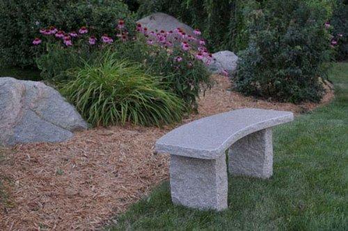 Curved Gold Granite Stone Boulder Bench