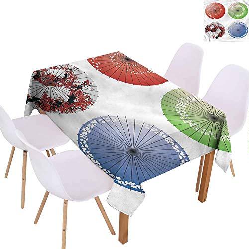 FANOEWI Creative Rectangle Tablecloth Japanese Umbrella Figures Leaves Buffet TablePartiesHoliday DinnerWeddingPicnicPatioKitchenDiningFamily Room W60 xL90