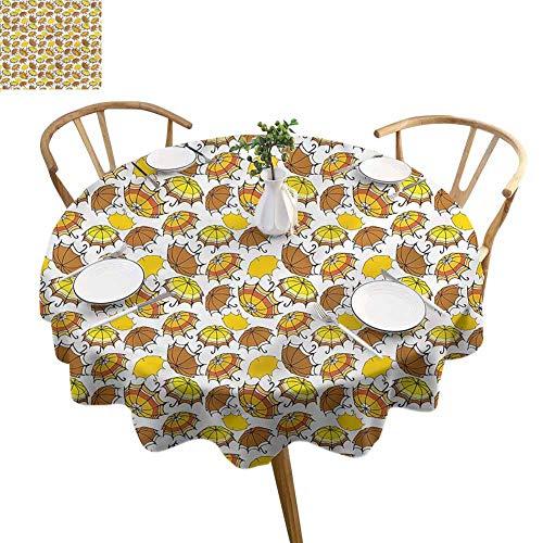 ScottDecor Outdoor Picnics Umbrella Banquet Round Tablecloth Striped in Earth Tones Diameter 50