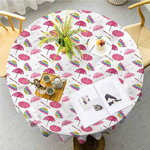 ScottDecor Outdoor Picnics UmbrellaFloral Feminine Set Microfiber for Dining Room Kitchen Decoration Round Tablecloth Diameter 50