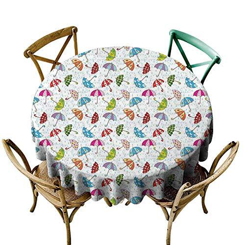 W Machine Sky Outdoor Picnics UmbrellaCartoon Style Different Umbrellas Scattered Around in The Spring Rain Wet WeatherMulticolor Diameter 54 Banquet Round Tablecloth