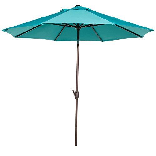 Abba Patio 9 Patio Umbrella Market Outdoor Table Umbrella With Auto Tiltcrank 8 Ribs Turquoise