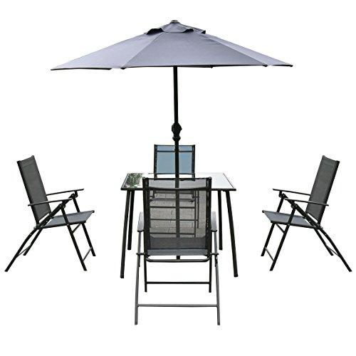 Giantex 6PCS Patio Garden Set furniture 4 Folding Chairs Table with Umbrella Gray