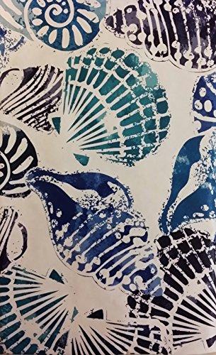 Summer Fun Seashells on White Vinyl Flannel Back Tablecloth with Zipper Umbrella Hole 52 x 70 Oblong